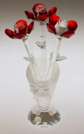 Red Crystal Flowers In A Crystal Vase